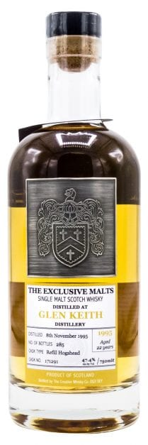 1995 Glen Keith Single Malt Scotch Whisky 22 Year Old, Exclusive Malts 750ml